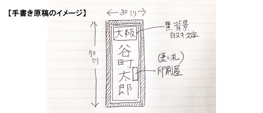千社札シールの手書き原稿