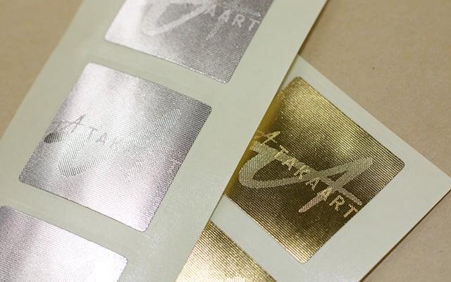 店名・ロゴシール印刷(ショップシール)チェンジング箔シール