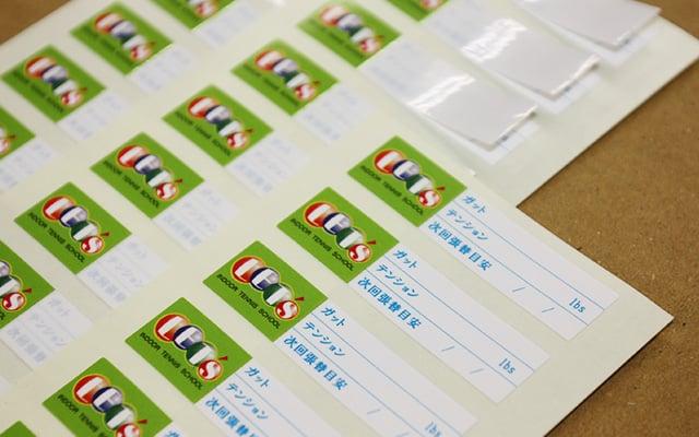 社名・ロゴシール印刷(企業ロゴシール) ガット張替点検シール