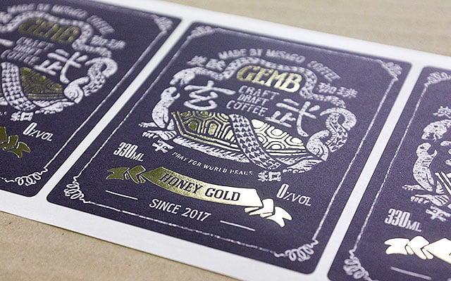 商品ラベル印刷(パッケージラベル)炭酸珈琲ラベル
