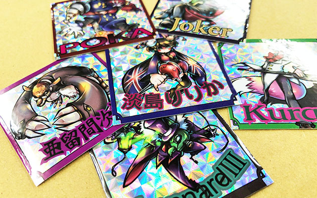 販促ノベルティシール印刷 ビックリマン風キャラクターシール6点
