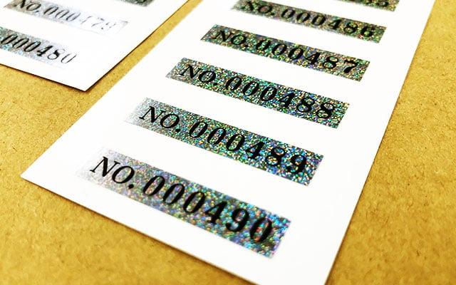 製品銘板シール印刷(製品シール) シリアルナンバーシール