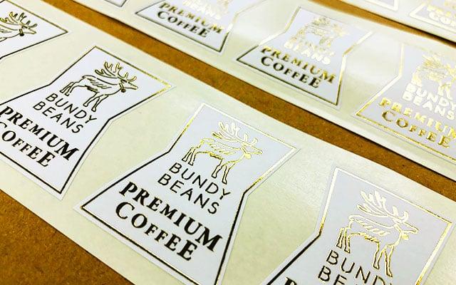商品ラベル印刷 珈琲ショップのパッケージ用店名ロゴラベル