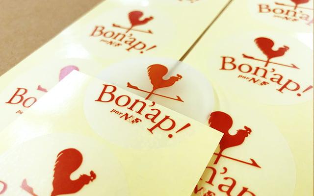 商品ラベル印刷 チョコレートの外装に貼り付けるショップロゴシール